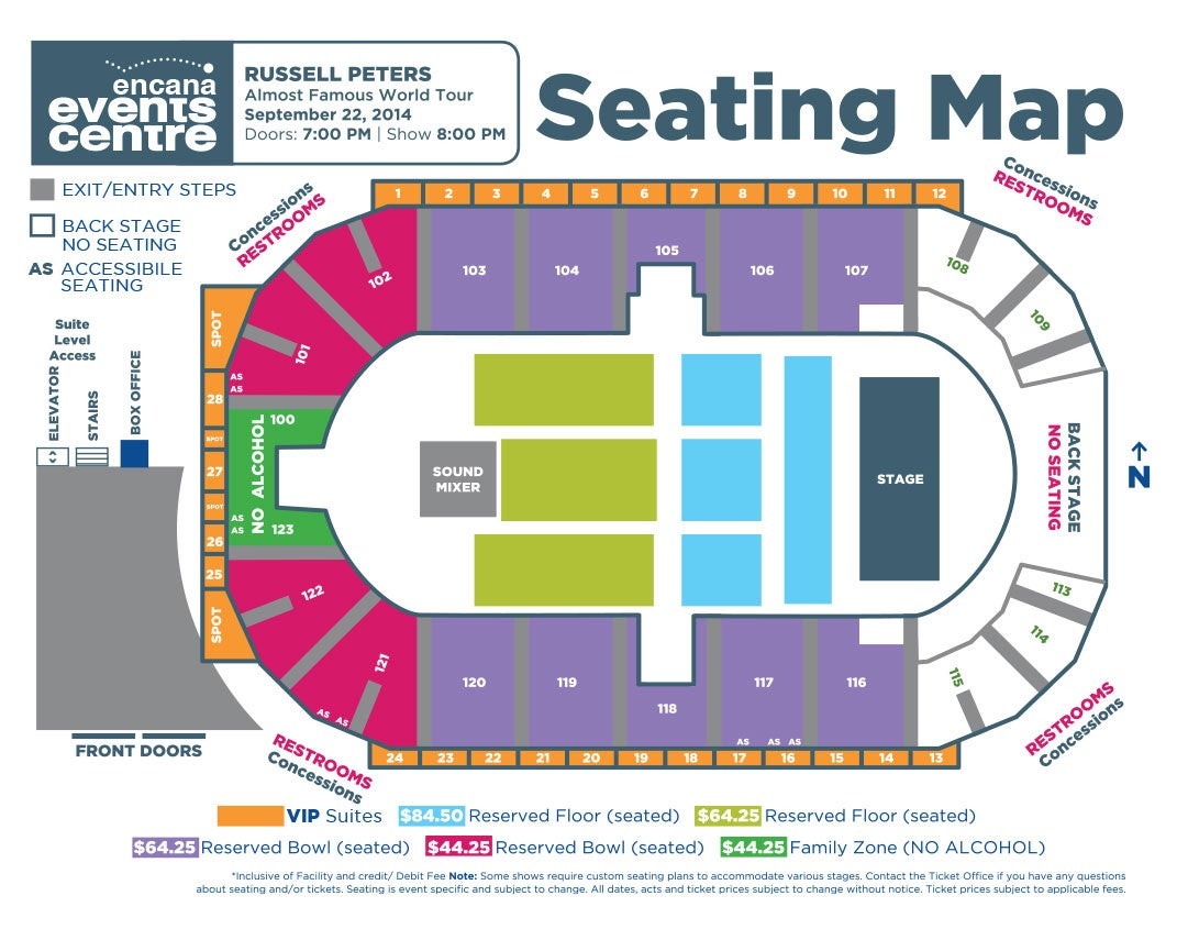 Rogers K Rock Centre Seating Chart Russell Peters Encana